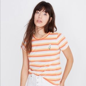 Madewell striped t shirt with daisy embroidery